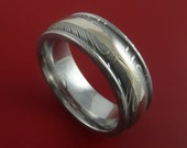 Damascus Steel 18k White Gold Ring Custom Made Wedding Band
