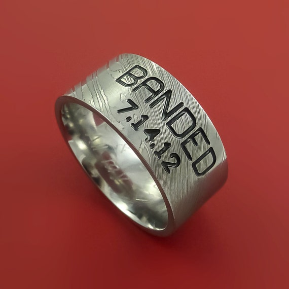 Damascus Steel Duck Band Ring Personal Message Wedding Band