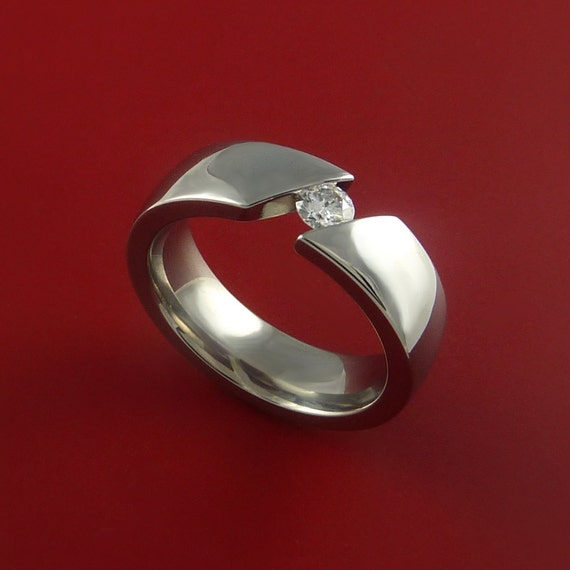 Titanium Ring Tension Setting Womens Band Made to any size with Moissanite