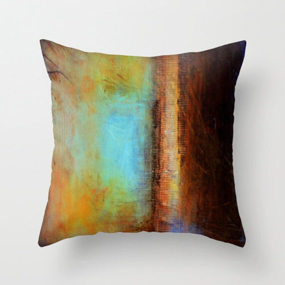 Modern Pillows Etsy : Blue and brown pillow Modern pillow case by LizMosLoft on Etsy
