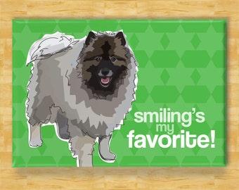 Keeshond Magnet - Smiling is My Favorite - Keeshond Gifts Refrigerator Fridge Dog Magnets