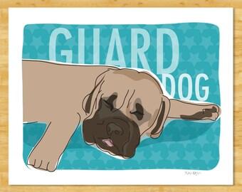 Mastiff Art Print - Sleeping Guard Dog - Funny Dog Art Mastiff Gifts for Dog Lovers