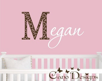 Giraffe  Print Monogram Name, Initial and name vinyl decal, nursery, kids & teens room, custom removable decals stickers