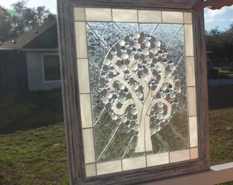 Stained Glass Mosaic White Tree of Life Repurpose Frame