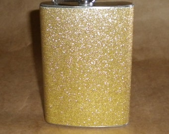 Champagne Sparkly or ANY Color Sparkly 8 ounce Stainless Steel Girly Gift Flask KR2D 7219