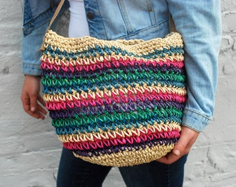 Woven Straw Tote Purse with Leather Strap Multicolor Vintage