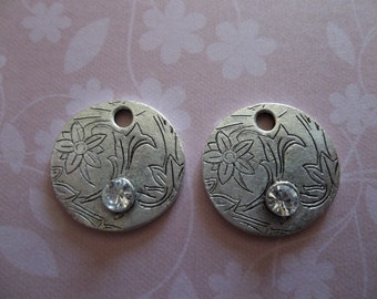 Crystal Clear Rhinestone Pendants - Floral Pattern Engraved Charms - Antique Silver Plated - Qty 2