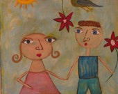 reduced price/FREE SHIPPING OOAK  8 X 10 folk art painting