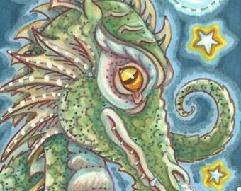 Gothic Goth Medieval Dragon Portrait Fantasy Art ACEO Susan Brack Ebsq