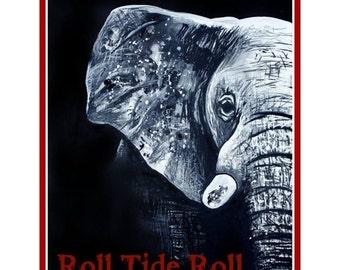 Roll Tide art PRINT from original painting 11x14
