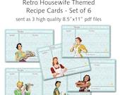 Printable 1950's Retro Housewife Recipe Cards - Set of 6 designs