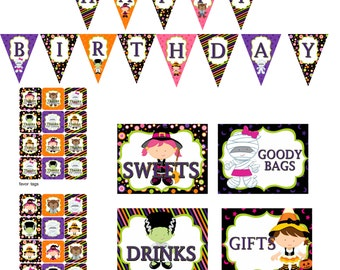 Printable DIY Basic Birthday Party Package - Banner, Favor Tags, Cupcake Toppers, Table Signs