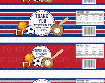 Printable PERSONALIZED DIY Sports Theme Baby Shower Baby Food Jar Labels - 4 oz and 6 oz