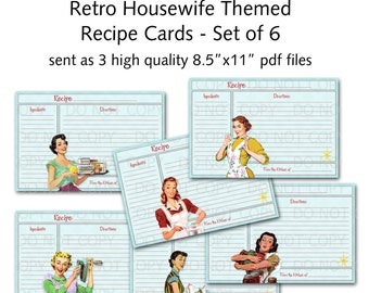 Printable 1950's Retro Housewife Recipe Cards - Set of 6 designs