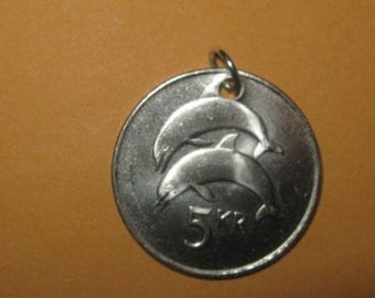 Authentic Iceland Double Dolphin Coin Pendant Necklace