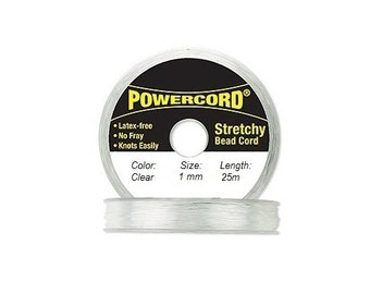 Powercord Elastic Cord Clear 1mm diameter 27.3 yards / 25 meters