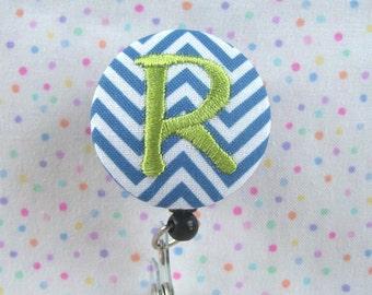 Retractable Monogrammed Embroidered Badge Reel / Name Badge Holder - by flowersaks