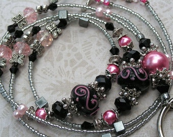 Beaded Lanyard Breakaway Lanyard ID Badge Holder Pink Black  Magnetic Break Away teacher lariat