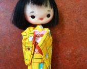 Vintage Handmade Japanese Kimono doll Yellow Silk with Box