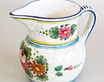 Mexican Pottery Pitcher Flower Vase Handmade and Hand Painted Shelf Sitter Home Decor