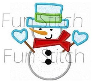 Winter snowman applique machine embroidery design
