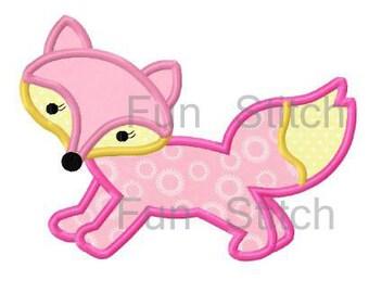 Little fox applique machine embroidery design