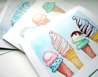 Ice Cream Greeting Cards - Ice Cream Cones Watercolor Art Blank Notecards - Food Illustration Cards - Set of 12 Cards