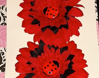 Red and Black Lady Bug flower set