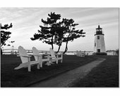 Lighthouse Photos, Goat Island Rhode Island, Black and White Prints, Cottage Wall Decor, Home Wall Art, Lighthouse Photography, Office Decor