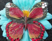 Red Gemmed Butterfly Turquoise Daisy Hair Flower (Ready to Ship)