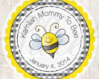 24 Baby Shower Favor Sticker Labels - Mommy To Bee Theme - Bumble Bee Baby Shower Decorations