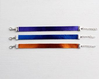 blue, purple, or orange chrome leather bracelet
