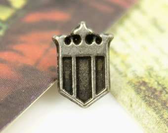 Metal Buttons - Royal Shield Metal Buttons , Antique Silver Color , Shank , 0.59 inch , 6 pcs