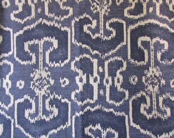 BENGALI INDIAN BLUE/indigo ikat designer, drapery/bedding/upholstery fabric
