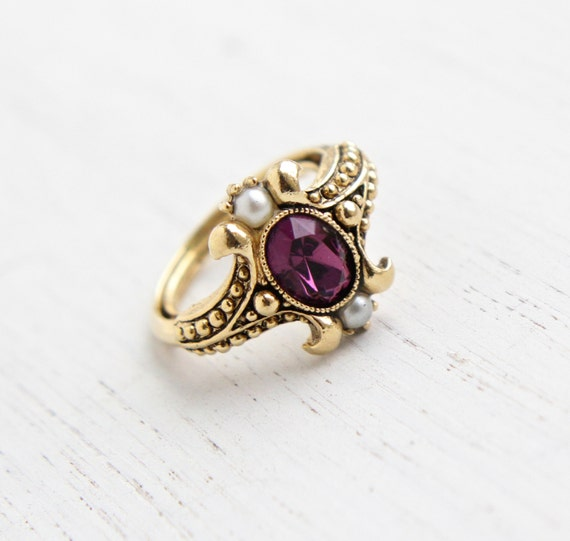 Vintage Faux Amethyst Amp Pearl Ring Retro 1970s By