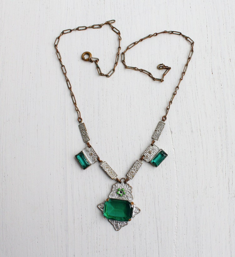 Antique Art Deco Emerald Green Glass Necklace By