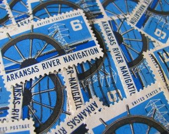 Nautical By Nature 30 Vintage US Postage Stamps 6-Cent Arkansas River Navigation AR Ship's Wheel Blue Water Scrapbooking Ephemera Philately