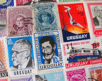 Libertad o Muerte 50 Vintage Uruguayan Postage Stamps Oriental Republic of Uruguay Latin Love South America Montevideo Worldwide Philately