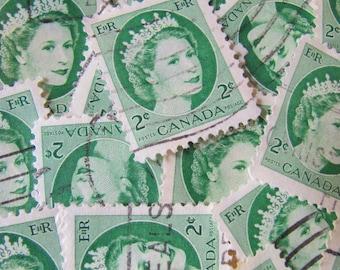 Lovely Ladies of Luxury 50 Vintage 1950s Canadian Postage Stamps Green Royal Heads Queen Elizabeth II Portrait Crown Tiara Scrapbooking Mom
