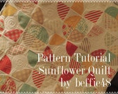 Sunflower Quilt Pattern Tutorial with photos, EASY