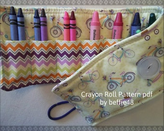 PATTERN, Kids Roll Up Crayon Holder Tutorial, pdf