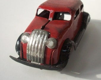 Vintage Antique Pressed Steel Toy Car / Red Silver Black / Girard Marx Wyandotte