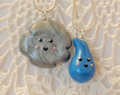 Sale - Best Friend Stormy Cloud and Raindrop Necklace Set/Best friend Jewelry/Teens/Polymer clay/Cloud/Rain