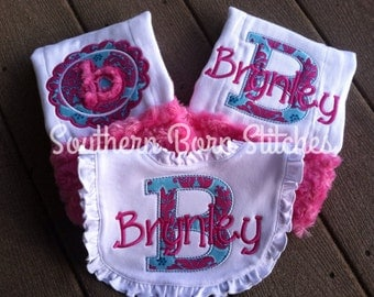 Monogrammed personalized baby girl burp cloth and bib set with minky, baby shower gift