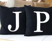 Monogram Pillow Cover 16 x 16 Initial Cushion Black and White Decorative Pillow Modern Throw Pillow
