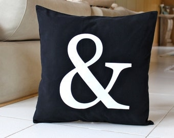 Ampersand Pillow Cover 16 x 16 Ampersand Symbol Cushion Black and White Decorative Pillow Modern Throw Pillow