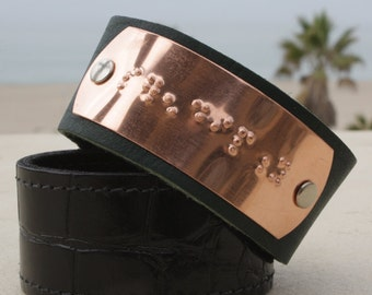 Custom leather cuff bracelet with Braille