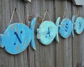 Monogrammed Beach-y Wooden Fish, Family Name, Lake House Decor, You Choose Colors
