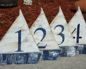 Free Standing Wooden Sail Boat, Wedding Table Numbers, Nautical Beach-y Event