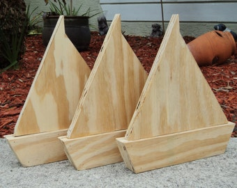UNFINISHED Free Standing Wooden Sail Boat, Wedding Table Numbers, Nautical Beach-y Event